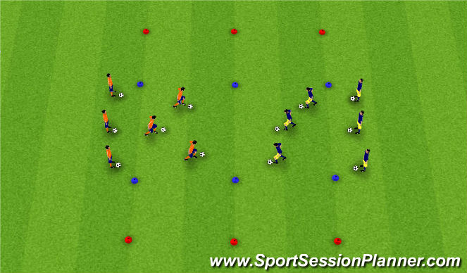 Football/Soccer Session Plan Drill (Colour): Dribbling Skills Corridor #2