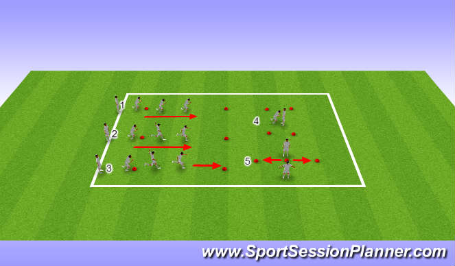 Football/Soccer Session Plan Drill (Colour): U12s, Week 16, Session 1, Landing Mechanics and Agility