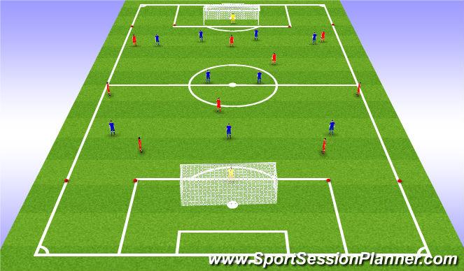 Football/Soccer Session Plan Drill (Colour): 9 vs 9