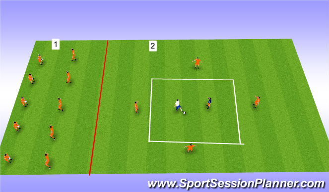 Football/Soccer Session Plan Drill (Colour): Warm up (25mins)