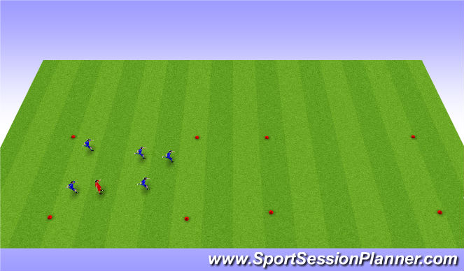 Football/Soccer Session Plan Drill (Colour): Tag - Pressure/Cover