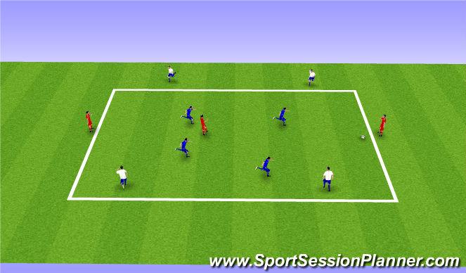 Football/Soccer Session Plan Drill (Colour): 4v4+3 Rondo