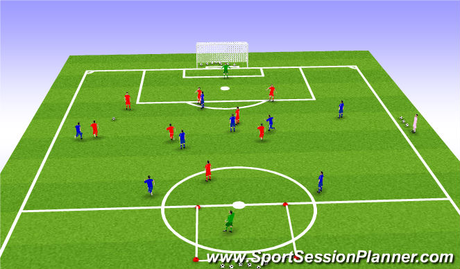 Football/Soccer Session Plan Drill (Colour): Conditioning Game (8v8 + GK)