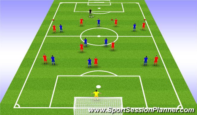 Football/Soccer Session Plan Drill (Colour): 9 vs 8