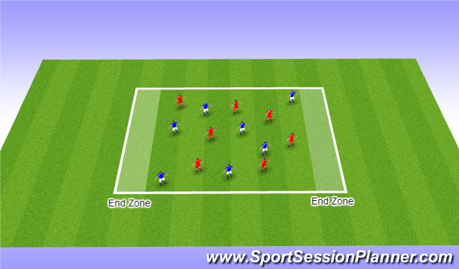 Football/Soccer Session Plan Drill (Colour): Arrival Game - Handball - Theme ' Overlappin Runs '