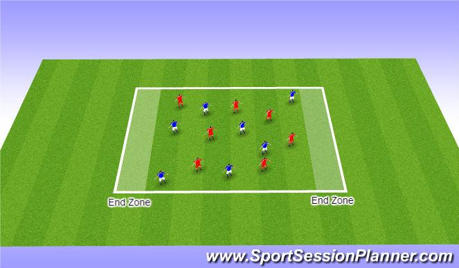 Football/Soccer Session Plan Drill (Colour): Arrival Game - Handball - Theme ' Overlappin Runs '