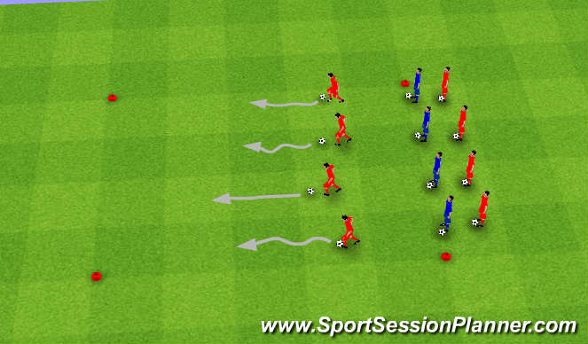 Football/Soccer Session Plan Drill (Colour): Quick first step