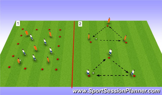 Football/Soccer Session Plan Drill (Colour): Warm-up (25mins)