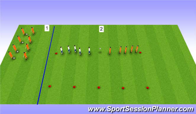 Football/Soccer Session Plan Drill (Colour): Warm-up (20mins)