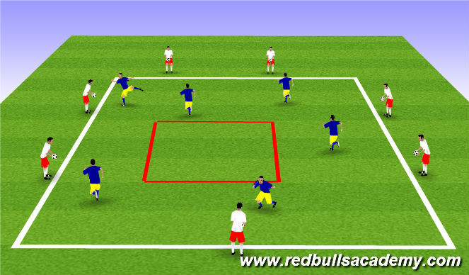 Football/Soccer Session Plan Drill (Colour): Receiving Air (Squares)