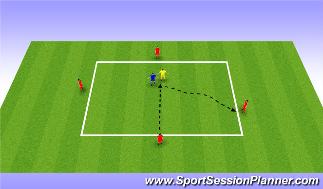 Football/Soccer Session Plan Drill (Colour): 50/50 First Pass
