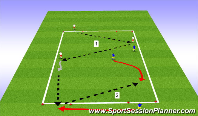 Football/Soccer Session Plan Drill (Colour): 2v2+2 rondo with gates