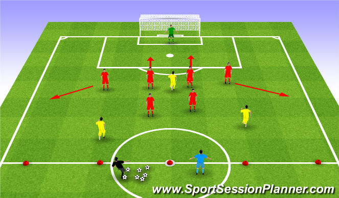 Football/Soccer Session Plan Drill (Colour): 7v3+1 Transitioning Out of the Back