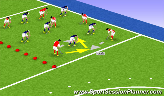 Hockey Session Plan Drill (Colour): Balbezit (1-2 comb)