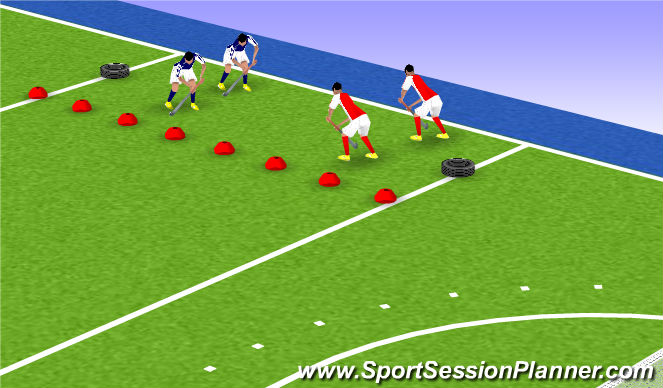 Hockey Session Plan Drill (Colour): 2:2 partij