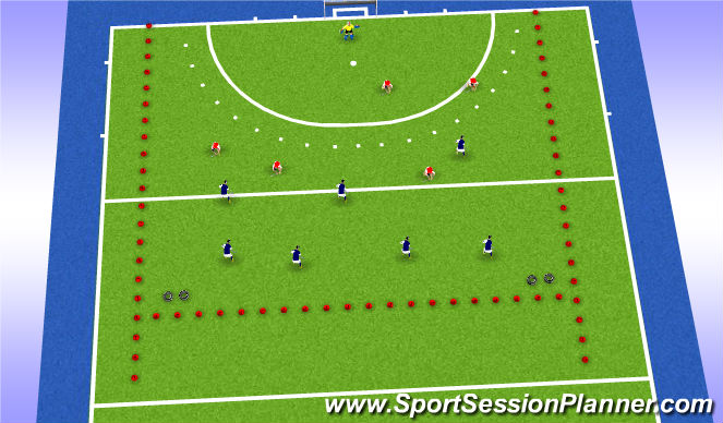Hockey Session Plan Drill (Colour): Partij 7:5+K