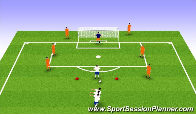 Football/Soccer Session Plan Drill (Colour): Shooting War (10mins)