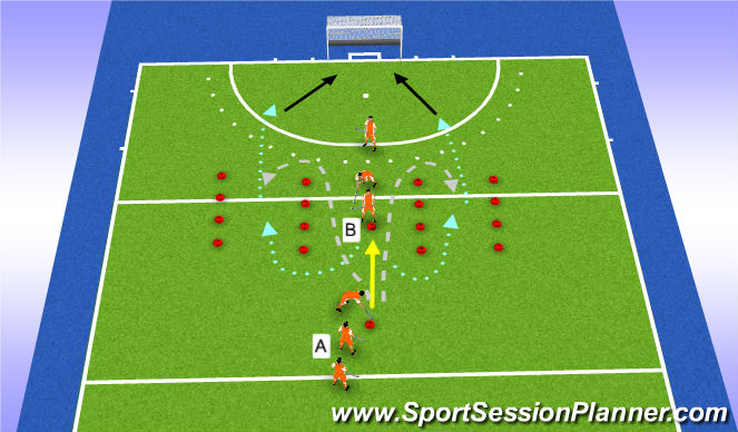 Hockey Session Plan Drill (Colour): tackle back 1v1