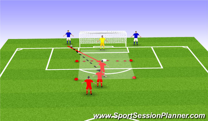 Football/Soccer Session Plan Drill (Colour): 1vs1 defending narrow area