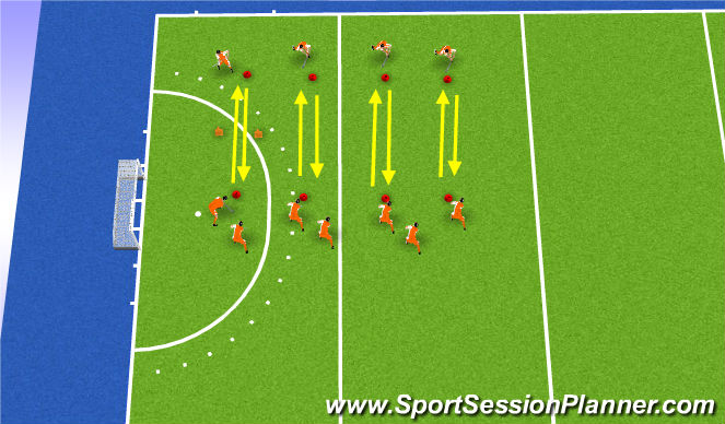 Hockey Session Plan Drill (Colour): passing ex basics