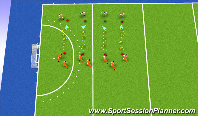 Hockey Session Plan Drill (Colour): dribble slalom