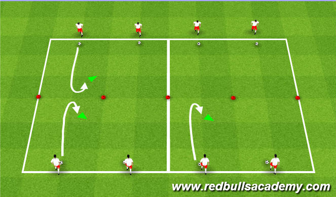 Football/Soccer Session Plan Drill (Colour): U-Turn/Xavi Turn