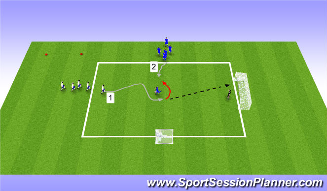 Football/Soccer Session Plan Drill (Colour): Warmup & Transition finishing