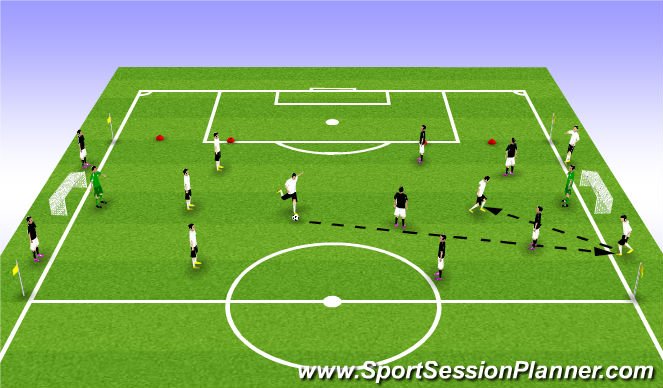 Football/Soccer Session Plan Drill (Colour): 8v8 POST PLAYERS