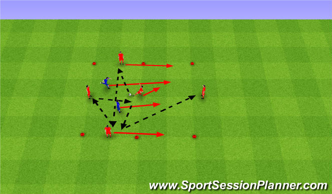 Football/Soccer Session Plan Drill (Colour): Rondo (4v2)+1. Dziadek (4v2)+1.