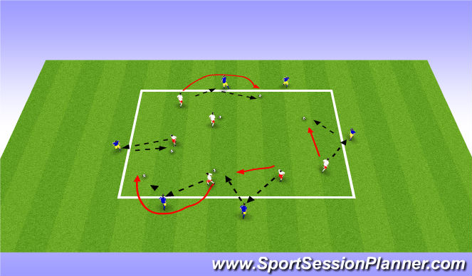 Football/Soccer Session Plan Drill (Colour): Combinations Warm Up