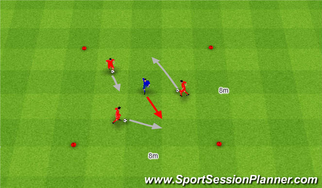 Football/Soccer Session Plan Drill (Colour): Pięć szans odbior piłki.