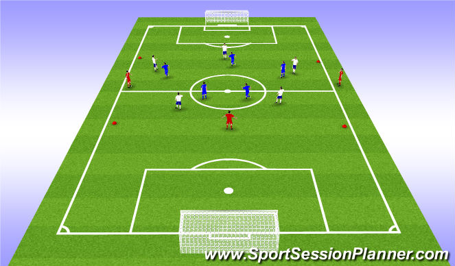 Football/Soccer Session Plan Drill (Colour): 5v5+3 Rondo