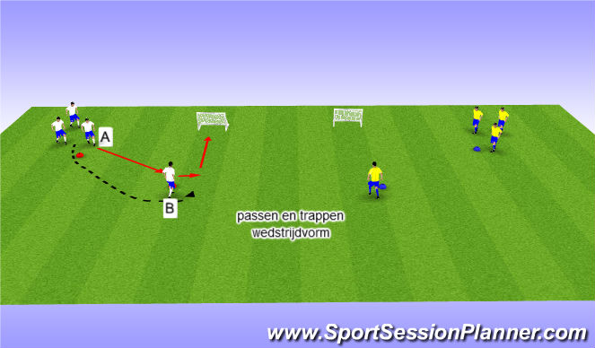 Football/Soccer Session Plan Drill (Colour): passen/trappen wedstrijdvorm