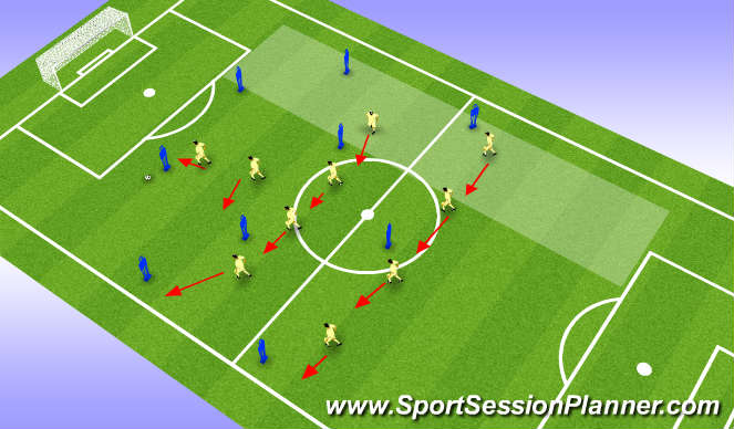 Football/Soccer Session Plan Drill (Colour): Shadow defending high