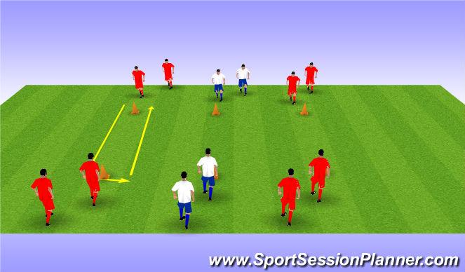 Football/Soccer Session Plan Drill (Colour): passen en trappen