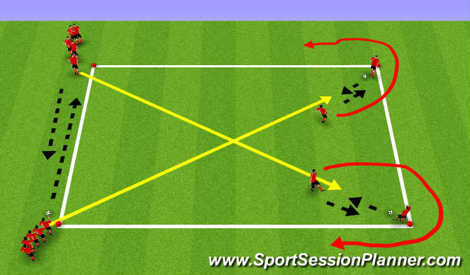 Football/Soccer Session Plan Drill (Colour): diagonal run