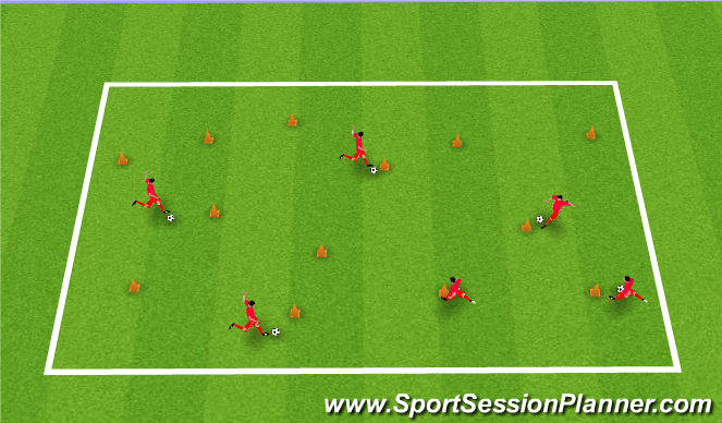 Football/Soccer Session Plan Drill (Colour): Taking down Chum Bucket