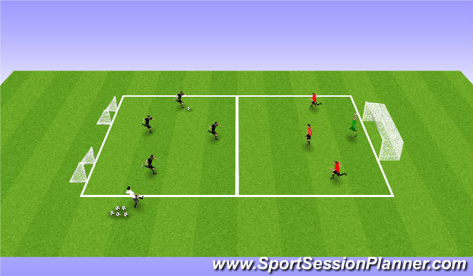 Football/Soccer Session Plan Drill (Colour): 4V3+GK SSG