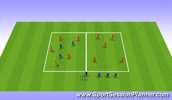 Football/Soccer Session Plan Drill (Colour): Positioning Game - Phase 1 start