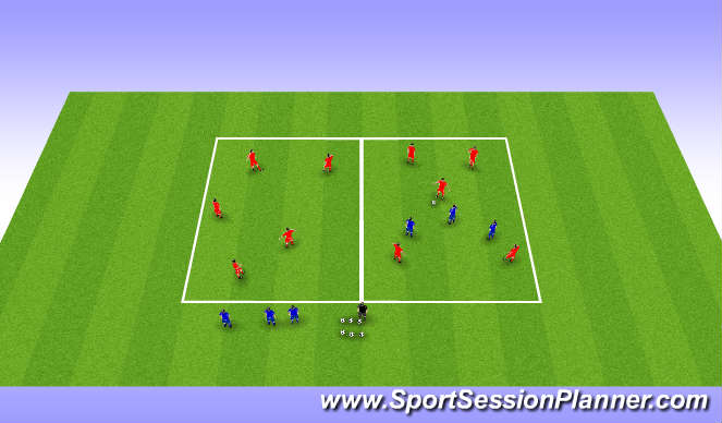 Football/Soccer Session Plan Drill (Colour): Phase 2 switch play