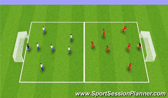 Football/Soccer Session Plan Drill (Colour): Small Sided Scrimmage - 35 minutes