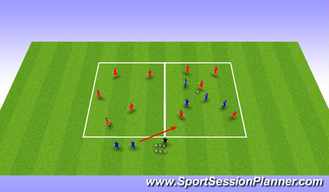 Football/Soccer Session Plan Drill (Colour): Phase 4 BPO 5 players