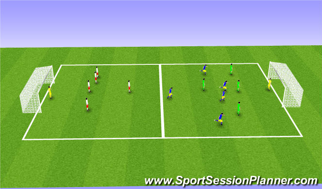 Football/Soccer Session Plan Drill (Colour): 5v5v5 transition game
