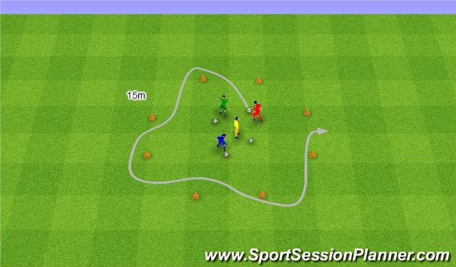 Football/Soccer Session Plan Drill (Colour): Szybkie prowadzenie piłki.