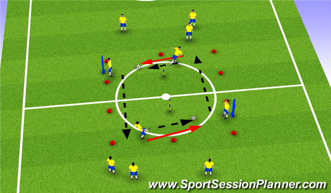 Football/Soccer Session Plan Drill (Colour): First Touch to Player Marked