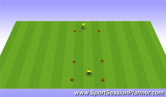 Football/Soccer Session Plan Drill (Colour): Striking balls over Distance