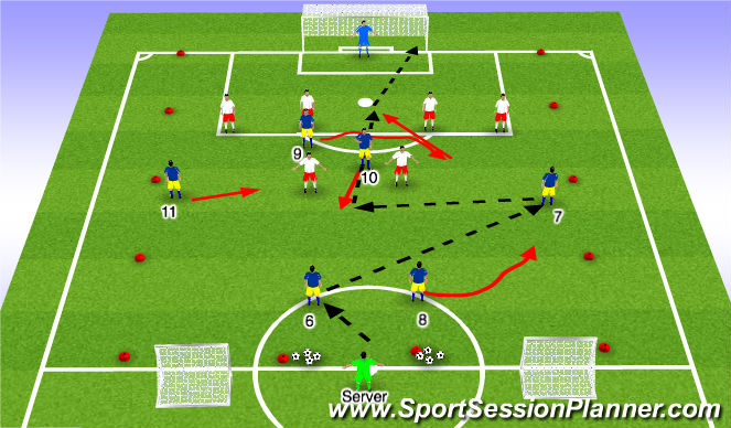 Football/Soccer Session Plan Drill (Colour): Playing through #10 (II)