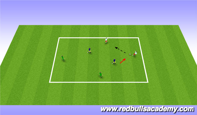 Football/Soccer Session Plan Drill (Colour): 4v2 Warm-Up