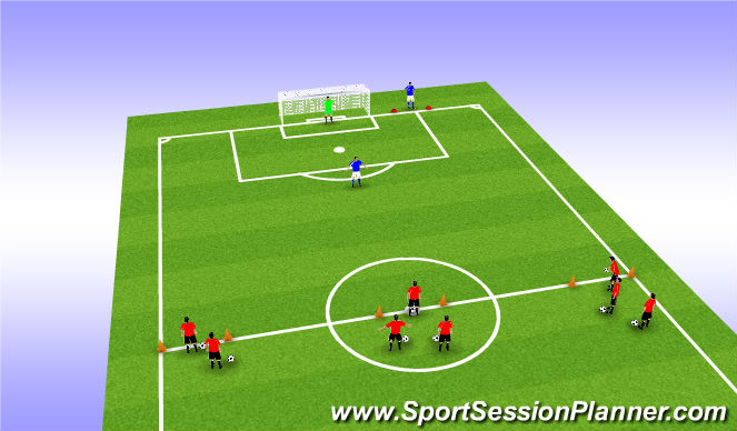 Football/Soccer Session Plan Drill (Colour): 3v1 Basic Pass & Move