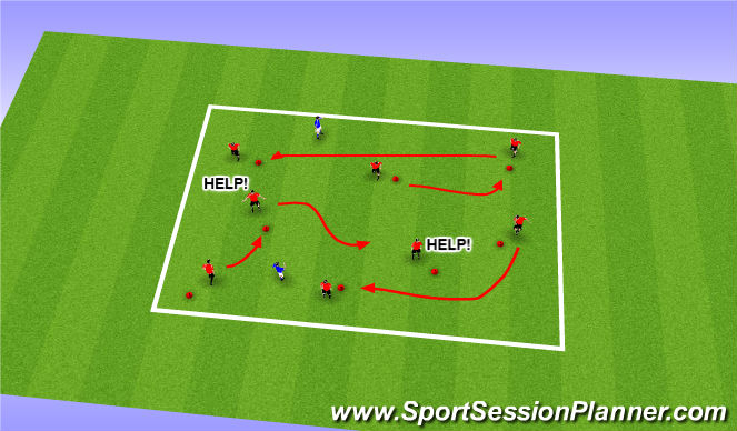 Football/Soccer Session Plan Drill (Colour): Stuck in the mud (no ball)